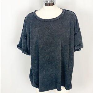 NWT FP Movement Black Acid Washed Oversize T-Shirt